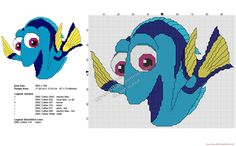 Disney Finding Dory free cross stitch pattern 97x74
