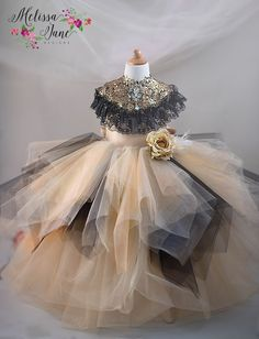 Wonderful colors of Gold with cute peek of Black, Removable Gold/Black Stunning Shawl Soft Satin fabric, under netting and lining, stunning overlay of soft sh Kids Prom Dresses, Girls Dresses Sewing, Girls Easter Dresses, Bridesmaid Dresses, Plum Flower Girl Dresses, Little Girl Dresses, Champagne Flower Girl, Baby Frocks Designs, Kids Gown