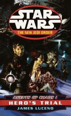 Hero's Trial (Star Wars: The New Jedi Order #4) by James Luceno -   Merciless attacks by an invincible alien force have left the New Republic reeling. Dozens of worlds have succumbed to occupation or annihilation, and even the Jedi Knights have tasted defeat. In these darkest of times, the noble Chewbacca is laid to rest, having died as heroically as he lived--and a grief-stricken Han Solo is left to fit the pieces of his shattered soul back together before he loses everything...