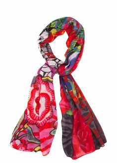 57W54B2_3083 Desigual Scarf Rectangle Ashbury New, Red Floral Scarf