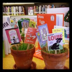 "For Early Literacy display? the Great Read: Books Help Babies Grow (And A Dream Deferred). These potted ""plants"" were originally for a baby shower. They also make for great spring time library décor! School Library Displays, Elementary School Library, Library Themes, Library Activities, Library Ideas, Library Decorations, Shelf Decorations, Classroom Displays, Reading Display"