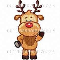 """This free embroidery design is """"Rudolph""""."""