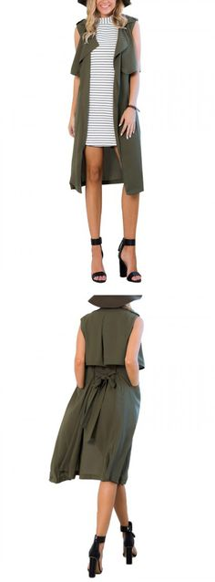 Army Green Tie Waist Drape Front Sleeveless Trench Coat