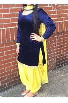 New Designer Lastest Yellow Velvet Salwar Suit