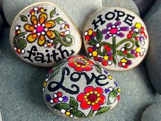 Faith Hope Love Magnets set of 3 / Painted Rocks / Sandi Pike Foundas / Cape Cod Sea Stones via Etsy
