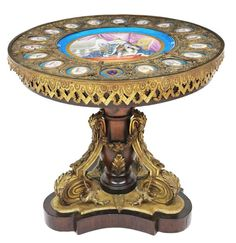 Napoleon III Sevres style porcelain and bronze center table, early 20th Century
