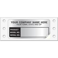 Model/Serial Number Labels, Continuous, Aluminum Foil, 376