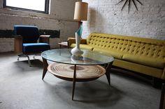 Intricate Danish Mid Century Modern Glass & Walnut Caned Shelf Coffee Table (U.S.A., 1950's)