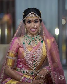South Indian Weddings, South Indian Bride, Half Saree Designs, Blouse Designs, Indian Bridal Sarees, Bridal Lehenga, Best Bride, South Indian Jewellery, Blue Wedding Dresses