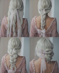 Wedding Hair Tutorials Inspo Long Hair Bride Silver Hair Fluffy Twist braid bun - All For Bridal Hair Bride Hairstyles For Long Hair, Wedding Hairstyles Tutorial, Simple Wedding Hairstyles, Up Hairstyles, Pretty Hairstyles, Braided Hairstyles, Winter Hairstyles, Medium Hairstyles, Wedding Updo