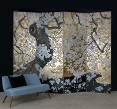 Amazing design of the partition beautiful space - Homemidi Japanese Screen, Japanese Art, Floor Screen, Japan Painting, Cosy Corner, Decorative Screens, Art Japonais, Interior Decorating, Interior Design