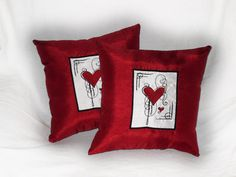 Red Heart Throw Pillows Scarlet Heart 14x14 inch by JustForGiggles, $50.00