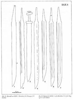 Sax4: OAL 68-99 cm, Blade L 51-85, W 5-5.9, Ratio blade L/W 12.6 8th C, here the only continental parallels are in north Germany/Austria, this is where the Scandinavian saxes split off at the start of the Viking era.  W&Gfig26.jpg