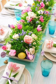 Cut flowers, flats of wheatgrass and dyed eggs are the ingredients that make up this stunning centerpiece. Get the tutorial at Woman's Day.