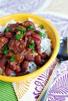 Crock Pot Red Beans & Rice (Lightened Up) - a classic, Southern-style, slow cooker side dish recipe.