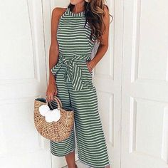 25335518335 Women Sleeveless Striped Jumpsuit Casual Clubwear Wide Leg Pants Outfit  Green Small -- Click picture to examine even more information.
