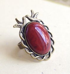 Red Jasper Bird couple Ring Gemstones Cute by CocoFlowerShop