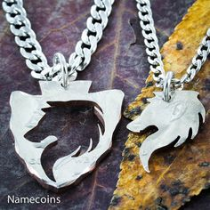 Wolf Arrowhead necklaces Inside and Outside Pieces by NameCoins