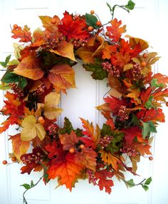 Fall Wreath Autumn Wreath Harvest Wreath by SweetIvyWreaths, $65.00
