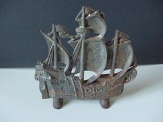 ANTIQUE CAST IRON SAILING SHIP DOORSTOP TITUS FOUNDRY #205