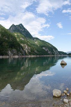 Lago del Mis is Locatelli in Dolomiti Bellunesi National Park in Dolomites World Heritage (Italy)