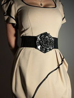 80f30bbb9bd1 Vintage looking black suede womens leather belt for dress with  flower-shaped buckle Wide Leather