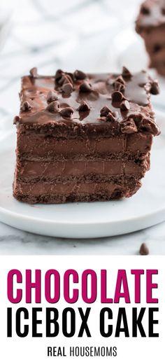 Freezer Desserts, No Bake Desserts, Easy Desserts, Delicious Desserts, Gourmet Desserts, Plated Desserts, Chocolate Graham Crackers, Mini Chocolate Chips, Chocolate Desserts