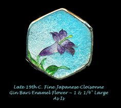 Image Copyright by RC Larner ~ Button Large Fine Late 19th C. Japanese Cloisonne Gin Bari Enamel