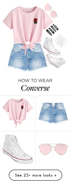 """Rose summer day"" by voliegrl on Polyvore featuring L K, Frame, WithChic, LMNT, Converse and Accessorize"