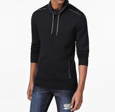 INC NEW Black Gray Mens 2XL Funnel Neck Drawstring Pullover Sweater $59 #057