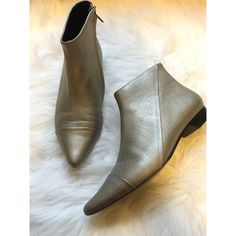 Amazing 10 Crosby Derek Lam Booties Purchased from another posher and they're so stunning in person, I just never wear them. The material is a soft matte leather in a metallic shade. Derek Lam Shoes Ankle Boots & Booties