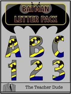 Batman Letter and Number Pack - Batman Decoration - Ideas of Batman Decoration - Unique Batman Letter Pack! All letters and numbers included. Superhero Bulletin Boards, Superhero Letters, Superhero Clipart, Superhero Classroom Theme, Superhero Room, Classroom Themes, Back To School Superhero, Batman Party Supplies, Scrapbook Letters