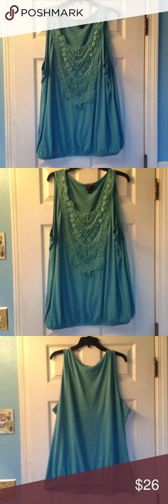 Pretty crotchet torrid tank Size 4 torrid tank that's super cute & barely been worn.  Top is 63% Polyester, 33% Rayon, & 4% Spandex. torrid Tops Tank Tops