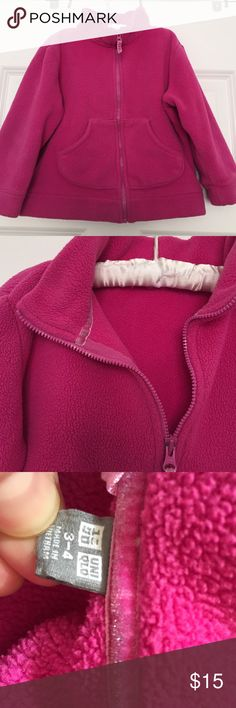 Uniqlo Pink Fleece Jacket- 2 AVAILABLE I have 2 of these great Uniqlo zip-up fleece jackets with 2 pockets. These are well-loved and show wash and wear, mostly around cuffs, but no stains or holes. Perfect for twins, or just as back-up. Price is for ONE jacket, or bundle for two. Uniqlo Jackets & Coats