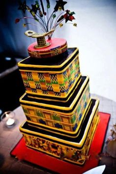 10 dramatic African inspired wedding cakes that would leave you in awe! Full of prints, beads, trees and many more details of Africa! African Wedding Cakes, African Wedding Theme, African Theme, African Wedding Dress, African Style, African Room, African Colors, African Design, African Attire