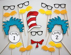 Dr. Seuss Makes Reading Fun Photo Booth Party Props - 19 Piece Set. Blue and Gold?