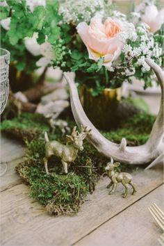 Flower Arrangements Inspiration: Woodland Centerpiece (Meg Van Kampen Studios via Wedding Chicks) Woodsy Wedding, Forest Wedding, Floral Wedding, Wedding Flowers, Deer Wedding, Wedding Gold, Hunting Wedding, Viking Wedding, Wedding Hire
