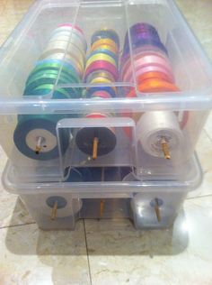 DIY Tutorial - how to make an Organized Ribbon Box using plastic containers & dowels.