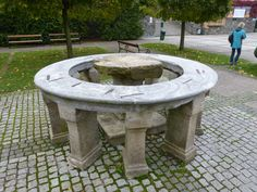 The Opferstein or Sacrifice Rock at Maria Taferl, Austria. It was used by the ancient Celts to make sacrifices upon and is now located in the plaza of the basilica there.