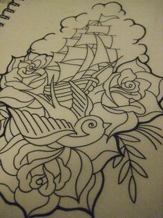 i want this with my sparrow on my thigh... minus the ship... just roses and pretty shading around it !!!!