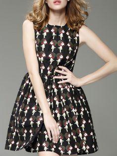 Black Graphic Sleeveless Jacquard Cotton Mini Dress