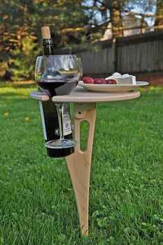 Outdoor Wine Table/ Folding Wine Table/ Wine Lover Gift/ Personalized/Tailgating/Christmas Gift/ Out Gifts For Wine Lovers, Wine Gifts, Gift For Lover, Wine Paring, Plywood Table, Wine Stand, Wine Table, Make A Table, Family Picnic