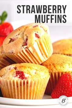Strawberry muffins are the perfect sweet bite for breakfast or brunch! Make these traditional or gluten free for a delicious start to your day. #muffin #strawberry #mothersday #breakfastinbed #glutenfree #strawberries Mothers Day Desserts, Strawberry Muffins, Frozen Strawberries, Breakfast In Bed, Glutenfree, Breads, Brunch, Traditional, Cookies