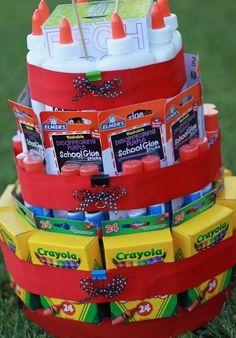DIY Teacher Appreciation Gift: Back to school supply cake! Such a cute homemade gift idea!