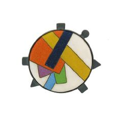 """Ginny Whitney: Enamel and Sterling Geometric Pin. Deco-inspired cloisonné enamels are post-modern and perfectly made. This pin, 1-1/2"""" diameter, is set in darkened sterling with decorative sterling elements that repeat and balance the geometric form of the enamel itself. $995 at Aaron Faber ... Nov 2012"""