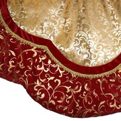 56 Inch Decorative Tree Skirt Red Fabric Material Burgundy And