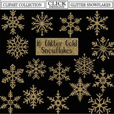 GLITTER GOLD SNOWFLAKES Digital ClipArt: Sparkle by ClickDesigns