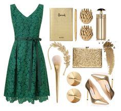 holiday green & gold sparkle by pamor9 on Polyvore featuring Phase Eight, Jimmy Choo, Eddie Borgo, Jennifer Behr, Gucci, Prada, Harrods, Caran D'Ache, Global Views and lacedress