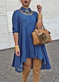 Stylish Shirt Collar Long Sleeve  Women s High-Low Denim Dress $15.14