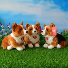 """Welsh Corgi Plush Toy - These plush Welsh Corgi stuffed animals are simply adorable!  Approximately 12″ length by 10″ high, these adorable little Corgis come in three color options: an all tan back, tan with a white """"fairy saddle"""" on his back, and tri-color. Z"""